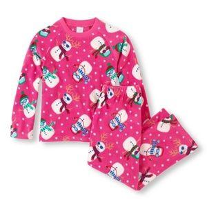 Girls Pink Fleece Snowman Xmas Holiday Pajamas 7/8